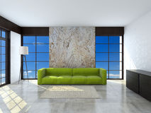 Green sofa in the room 3d rendering Stock Photography