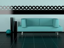 Green sofa, three vases in the room Royalty Free Stock Photos