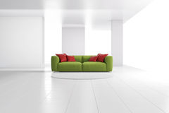 Green sofa in white loft Stock Photo