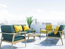 Green sofas on balcony, cityscape close up stock illustration