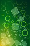 Green soft drink with ice. And bubbles Stock Photography