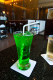 Green soft drinks with ice Stock Photo