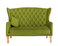 Green soft sofa with fabric upholstery isolated on white Royalty Free Stock Images