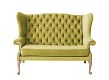 Green soft sofa with fabric upholstery isolated on white Stock Photography