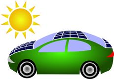 Green solar car Stock Photography