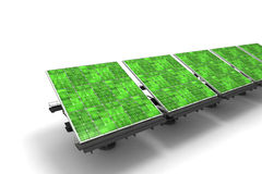 Green solar panels. Row of green solar panels against a white background Royalty Free Stock Images