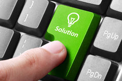 Green solution button on the keyboard Stock Photos