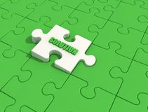 Green solution puzzle. Withe puzzle piece with solution on green jigsaw Stock Photos