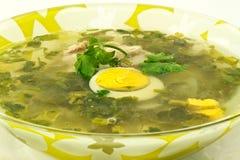Green sorrel soup. In a plate Stock Photos