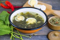 Green sorrel soup with egg. And spices on a wooden board royalty free stock photo