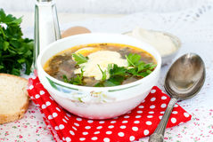 Green sorrel soup with egg in plate Stock Photos