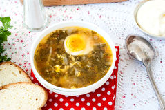 Green sorrel soup with egg in plate Royalty Free Stock Image