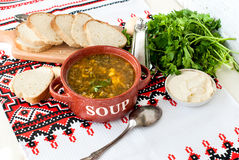 Green sorrel soup with egg in plate Royalty Free Stock Photography