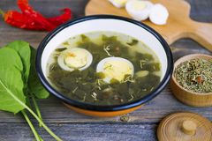 Green sorrel soup with egg. And spices on a wooden board stock photos