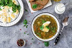Green sorrel soup with eggs. Summer menu. Healthy food. Flat lay. Top view Stock Photography
