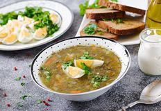 Green sorrel soup with eggs. Summer menu. Healthy food. Grey background stock images