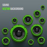 Green Sound Load Speakers on dark background. Royalty Free Stock Images