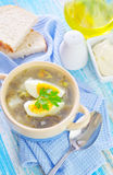 Green soup. With boiled egg royalty free stock images