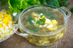 Green soup with eggs and sorrel. In a plate Royalty Free Stock Photography