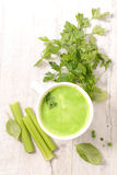 Green soup or smoothie Stock Photo
