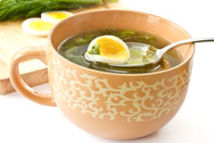 Green soup of sorrel. Soup in a cup Stock Photo