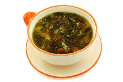 Green soup with sorrel. Stock Photo