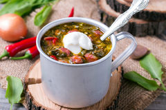 Green soup with sorrel and sour cream. On the table royalty free stock image