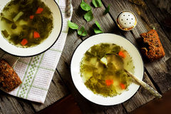 Green soup. Style rustic. Stock Photo