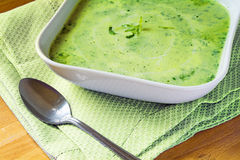 Green  soup from vegetables and herbs in a square shaped white p Royalty Free Stock Photography