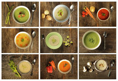 4 green soups Royalty Free Stock Photo