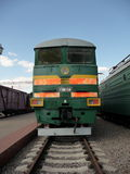 Green Soviet train at  Rizhskaya  Railway Museum in Moscow Stock Photography