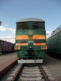 Green Soviet train at  Rizhskaya  Railway Museum in Moscow Stock Photography