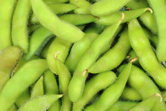 Green soy bean. Cooked green soy bean background Stock Photo