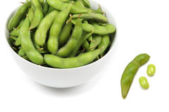 Green soy bean. Cooked green soy bean on white background Royalty Free Stock Photo