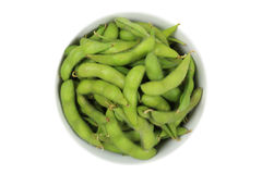 Green soy bean. Cooked green soy bean on white background Stock Photo