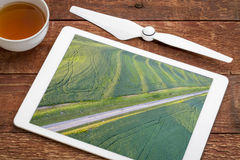 Green soybean fields aerial view Stock Photography