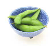Green soybeans in a blue bowl Stock Images
