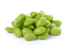 Green soybeans on white background Royalty Free Stock Photos