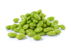 Green soybeans on white background Stock Image