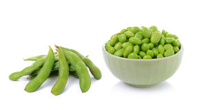 Green soybeans on white background Royalty Free Stock Images