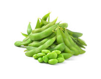 Green soybeans on white background Royalty Free Stock Photography