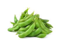 Green soybeans on white background Stock Photography
