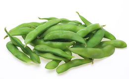 Green soybeans in a white background Royalty Free Stock Photo