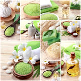 Green spa concept collage. soap and essensials spa objects Royalty Free Stock Photography