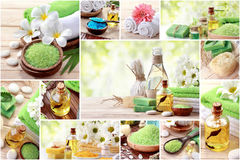 Green spa concept collage. soap and essensials spa objects Royalty Free Stock Photo