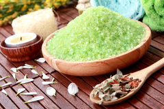 Green spa salt Stock Photo
