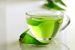 Green spa tea. In a glass cup, detox and relaxing warm drink Stock Photography
