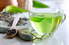 Green spa tea. In a glass cup, detox and relaxing warm drink Stock Images