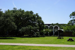 Green space in academia setting. The Rice University, Houston, Texas campus has many open green spaces for students to study, eat, visit and relax. The warm Royalty Free Stock Image