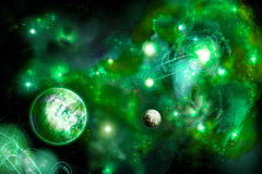 Green space with two planets Stock Photo